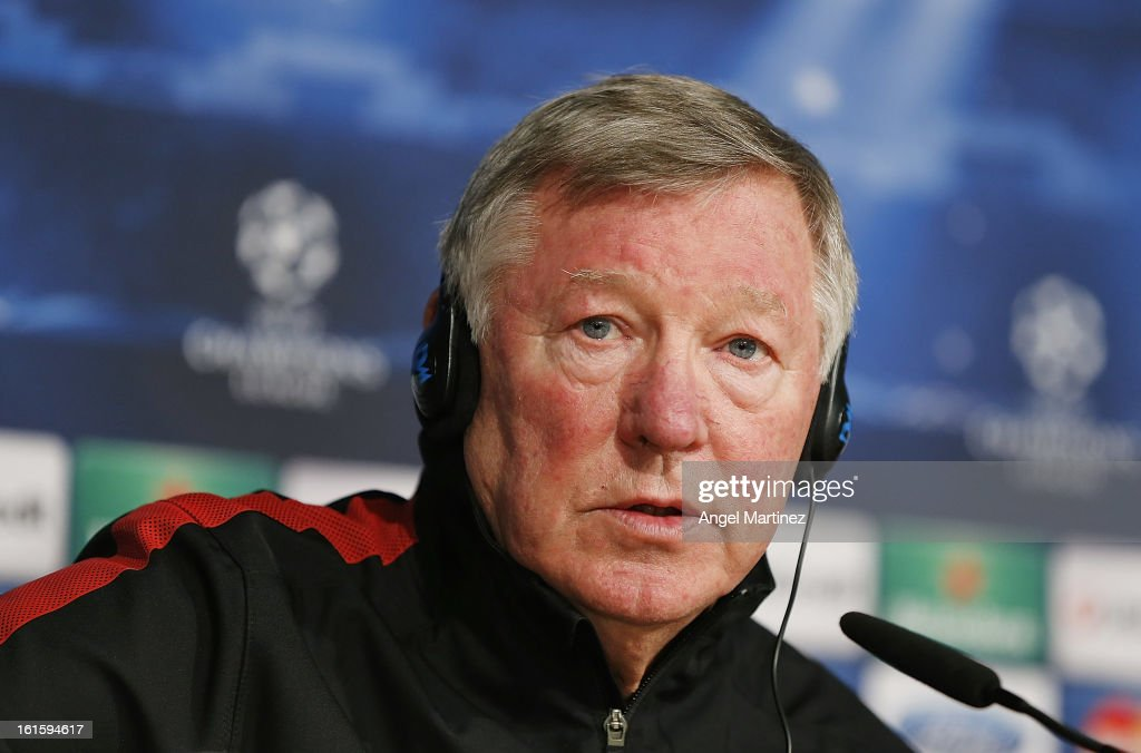 Manager Sir <a gi-track='captionPersonalityLinkClicked' href=/galleries/search?phrase=Alex+Ferguson&family=editorial&specificpeople=203067 ng-click='$event.stopPropagation()'>Alex Ferguson</a> of Manchester United attends a press conference ahead of the UEFA Champions League match between Real Madrid CF and Manchester United at Estadio Santiago Bernabeu on February 12, 2013 in Madrid, Spain.