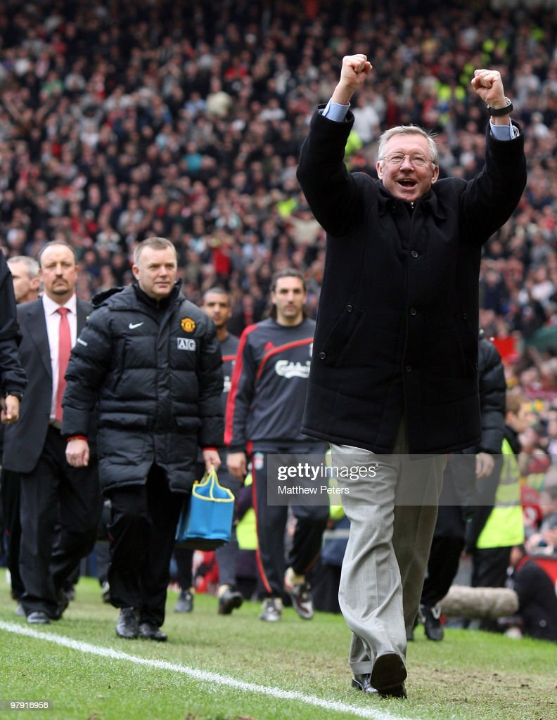 Manager Sir Alex Ferguson of Manchester United celebrates at the final whistle of the FA Barclays Premier League match between Manchester United and Liverpool at Old Trafford on March 21 2010 in Manchester, England.
