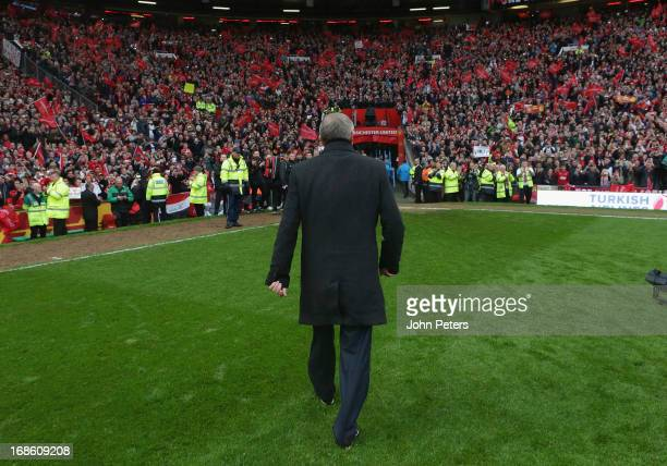 Manager Sir Alex Ferguson of Manchester United leaves the pitch after the Barclays Premier League match between Manchester United and Swansea at Old...