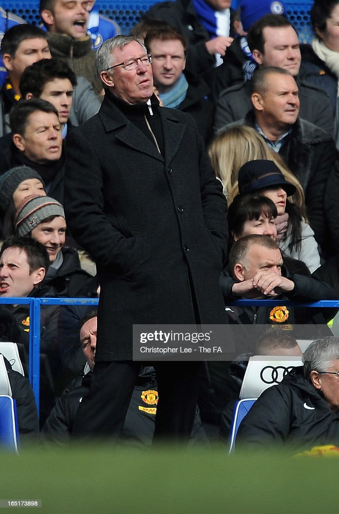 Manager Sir <a gi-track='captionPersonalityLinkClicked' href=/galleries/search?phrase=Alex+Ferguson&family=editorial&specificpeople=203067 ng-click='$event.stopPropagation()'>Alex Ferguson</a> of Manchester United reacts as his team miss a chance to score during the FA Cup Sixth Round Replay match between Chelsea and Manchester United at Stamford Bridge on April 1, 2013 in London, England.
