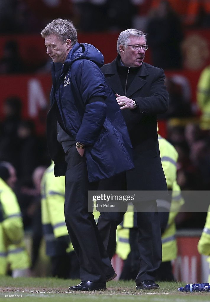 Manager Sir Alex Ferguson of Manchester United shakes hands with David Moyes of Everton after the Barclays Premier League match between Manchester United and Everton at Old Trafford on February 10, 2013 in Manchester, England.
