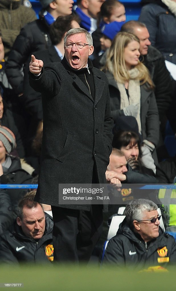 Manager Sir <a gi-track='captionPersonalityLinkClicked' href=/galleries/search?phrase=Alex+Ferguson&family=editorial&specificpeople=203067 ng-click='$event.stopPropagation()'>Alex Ferguson</a> of Manchester United shouts at his players during the FA Cup Sixth Round Replay match between Chelsea and Manchester United at Stamford Bridge on April 1, 2013 in London, England.