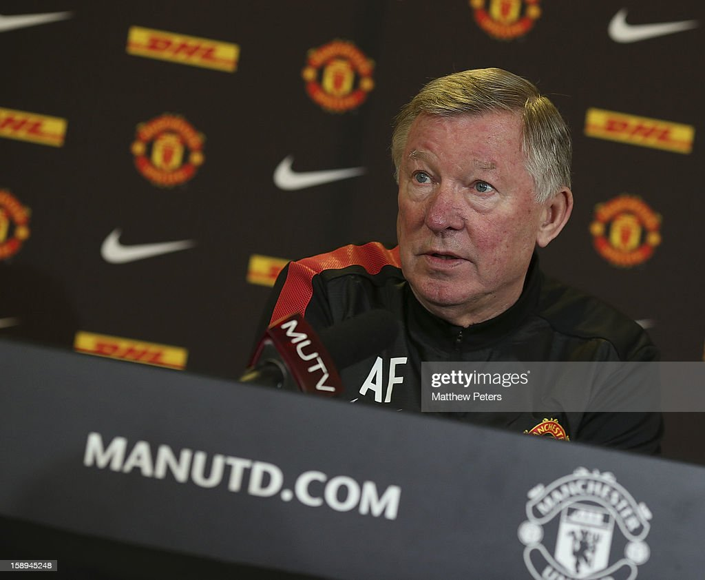 Manager Sir <a gi-track='captionPersonalityLinkClicked' href=/galleries/search?phrase=Alex+Ferguson&family=editorial&specificpeople=203067 ng-click='$event.stopPropagation()'>Alex Ferguson</a> of Manchester United speaks during a press conference at Carrington Training Ground on January 4, 2013 in Manchester, England.