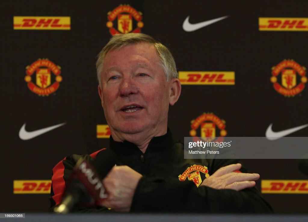 Manager Sir <a gi-track='captionPersonalityLinkClicked' href=/galleries/search?phrase=Alex+Ferguson&family=editorial&specificpeople=203067 ng-click='$event.stopPropagation()'>Alex Ferguson</a> of Manchester United speaks during a press conference at Carrington Training Ground on January 11, 2013 in Manchester, England.