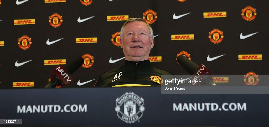 Manager Sir Alex Ferguson of Manchester United speaks during a press conference at Carrington Training Ground on March 8, 2013 in Manchester, England.