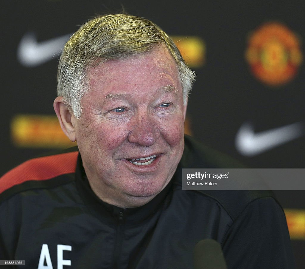 Manager Sir <a gi-track='captionPersonalityLinkClicked' href=/galleries/search?phrase=Alex+Ferguson&family=editorial&specificpeople=203067 ng-click='$event.stopPropagation()'>Alex Ferguson</a> of Manchester United speaks during a press conference at Carrington Training Ground on March 8, 2013 in Manchester, England.