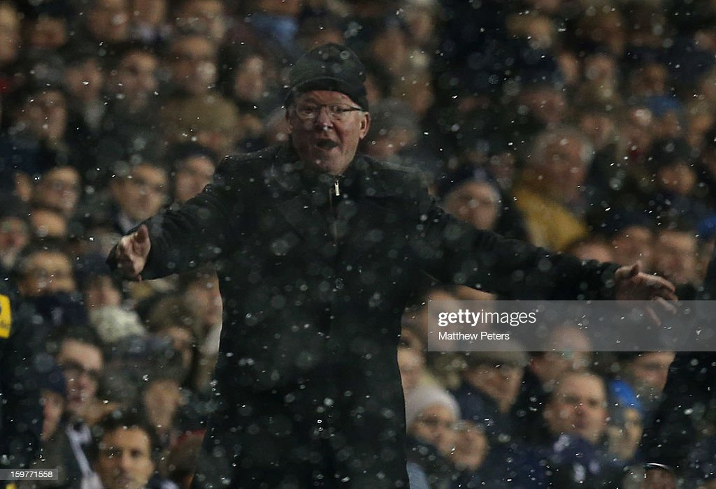 Manager Sir Alex Ferguson of Manchester United watches from the touchline during the Barclays Premier League match between Tottenham Hotspur and Manchester United at White Hart Lane on January 20, 2013 in London, England.