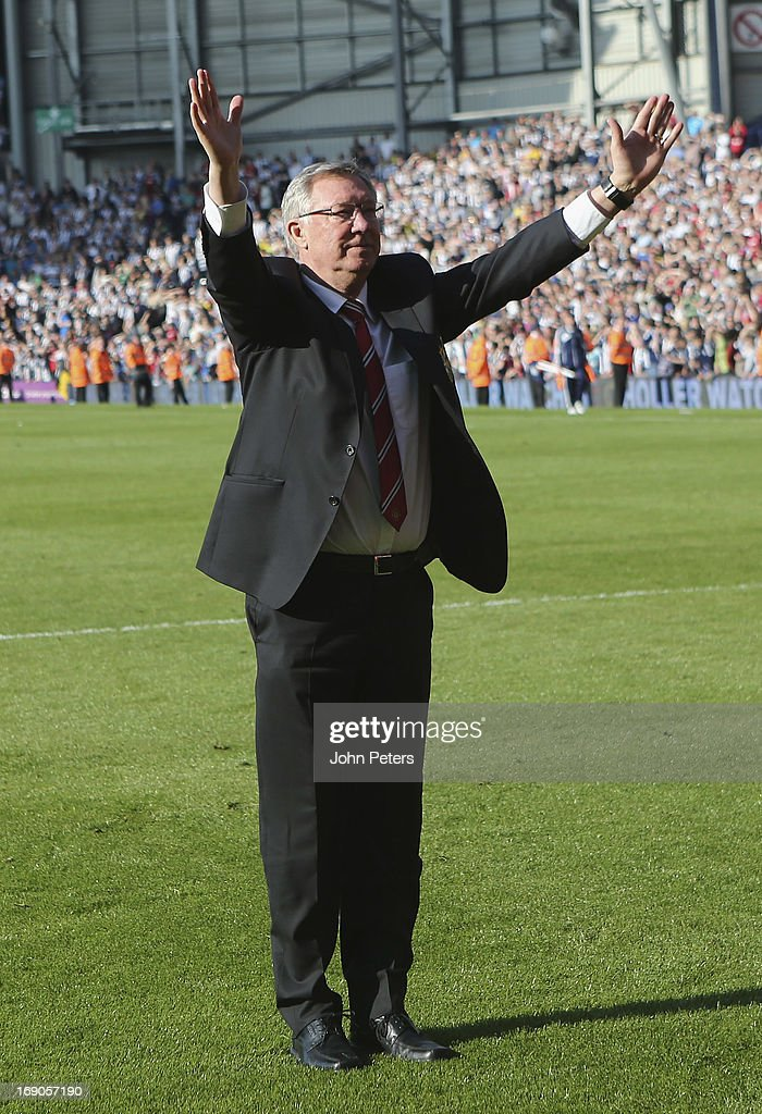 Manager Sir Alex Ferguson of Manchester United waves goodbye to the fans after the Barclays Premier League match between Wet Bromwich Albion and Manchester United at The Hawthorns on May 19, 2013 in West Bromwich, England.