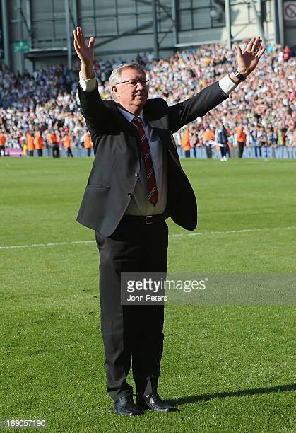 Manager Sir Alex Ferguson of Manchester United waves goodbye to the fans after the Barclays Premier League match between Wet Bromwich Albion and...
