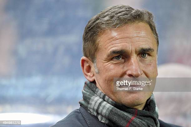 Manager Stefan Kuntz of Kaiserslautern looks on prior to the Second Bundesliga match between 1 FC Kaiserslautern and Arminia Bielefeld at...
