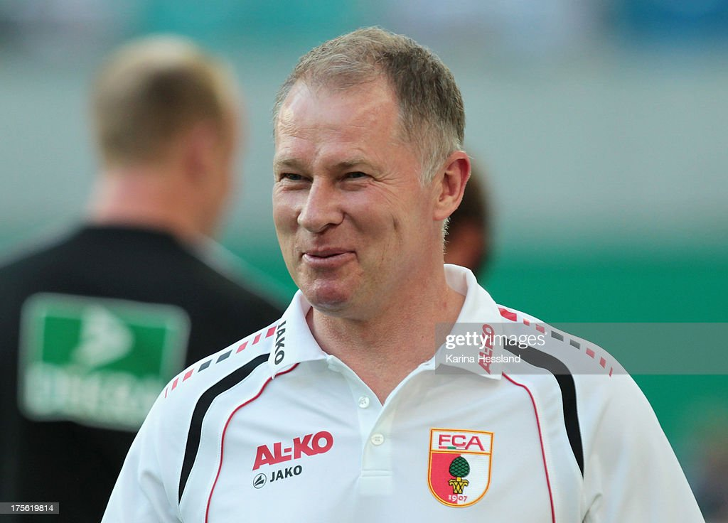 Manager Stefan Reuter of Augsburg during the DFBCup between RB Leipzig and FC Augsburg at Zentralstadion on August 02 2013 in Leipzig/Germany