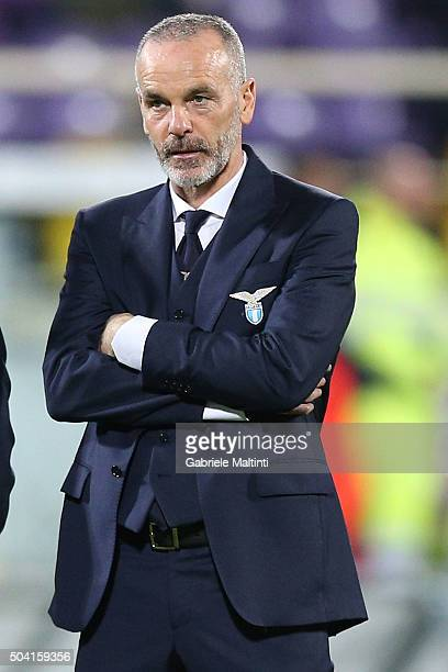 Manager Stefano Pioli of SS Lazio looks on during the Serie A match between ACF Fiorentina and SS Lazio at Stadio Artemio Franchi on January 9 2016...