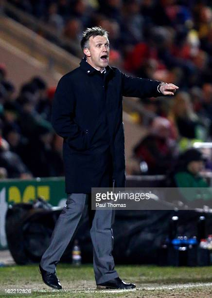 Manager Steve Davis of Crewe gestures during the Johnstone's Paint Trophy Northern Section Final Second Leg match between Crewe Alexandra and...