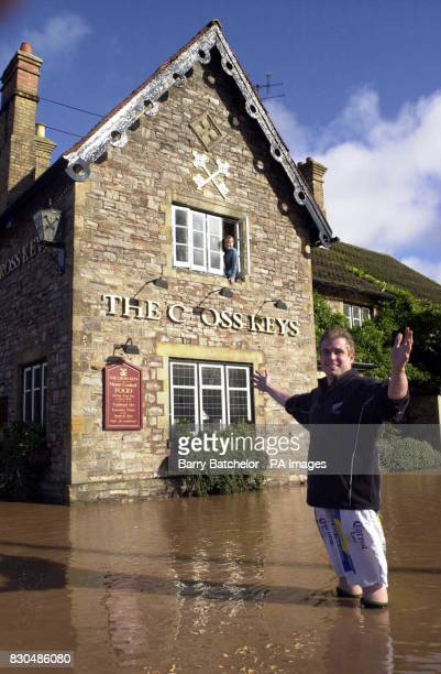 Manager Steve Roper outside of The Cross Keys pub at Norton Fitzwarren in Somerset Parts of Britain were lashed by a massive storm overnight which...