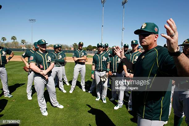 Manager Steve Scarsone of the Oakland Athletics AAA team the Nashville Sounds talks with the players during a spring training workout at Fitch Park...