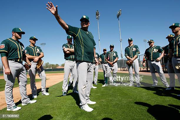 Manager Steve Scarsone of the Oakland Athletics AAA team the Nashville Sounds works with the pitchers during a spring training workout at Fitch Park...