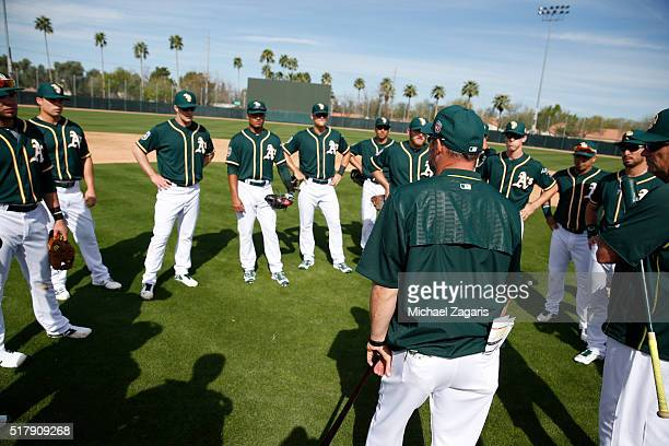 Manager Steve Scarsone of the Oakland Athletics AAA team the Nashville Sounds meets with players before an intersquad game at Fitch Park on February...