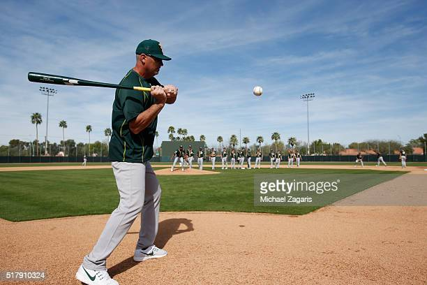 Manager Steve Scarsone of the Oakland Athletics AAA team the Nashville Sounds hits fungo during a spring training workout at Fitch Park on March 2...