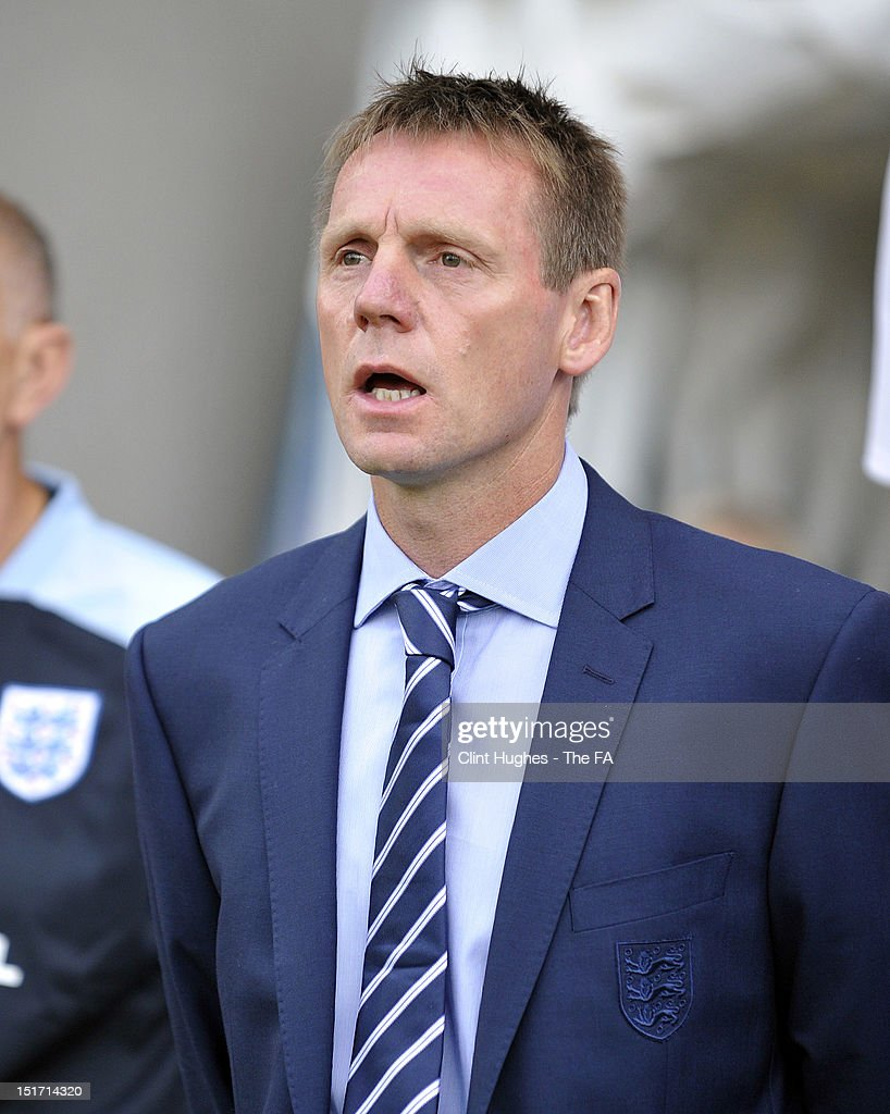 Manager <a gi-track='captionPersonalityLinkClicked' href=/galleries/search?phrase=Stuart+Pearce+-+Soccer+Coach&family=editorial&specificpeople=213348 ng-click='$event.stopPropagation()'>Stuart Pearce</a> of England looks on before the UEFA Under 21 Championship match between England and Norway at the B2NET Stadium on September 10, 2012 in Chesterfield, England