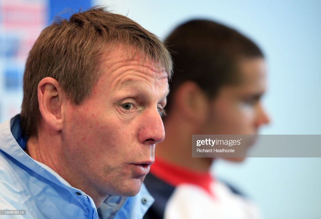 U21 manager <a gi-track='captionPersonalityLinkClicked' href=/galleries/search?phrase=Stuart+Pearce+-+Soccer+Coach&family=editorial&specificpeople=213348 ng-click='$event.stopPropagation()'>Stuart Pearce</a> talks to the media in a press conference after the England U21 training session at Carrow Road on October 11, 2012 in Norwich, England. England's U21 team will play Serbia U21 in the first leg of the U21 European Championship play-off's at Carrow Road tomorrow night.