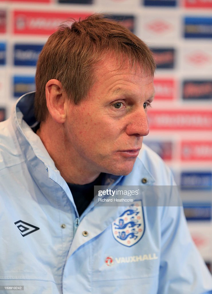 U21 manager Stuart Pearce talks to the media in a press conference after the England U21 training session at Carrow Road on October 11, 2012 in Norwich, England. England's U21 team will play Serbia U21 in the first leg of the U21 European Championship play-off's at Carrow Road tomorrow night.