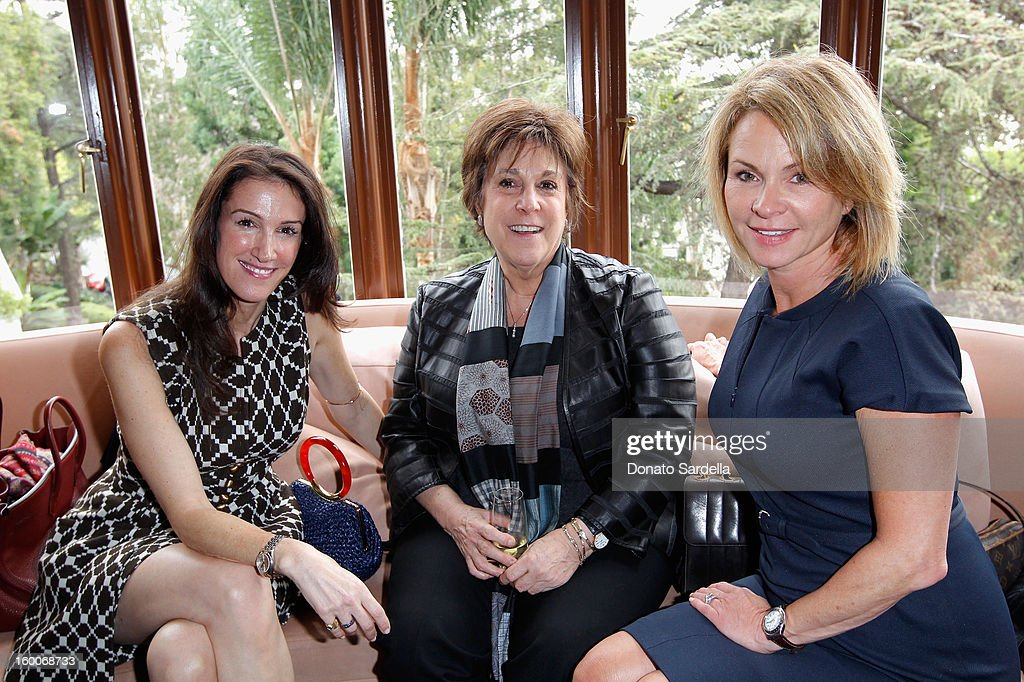 Manager Susan Smith (C) and agent Louise Ward (R) attend the Champagne Taittinger Women in Hollywood Lunch hosted by Vitalie Taittinger at Sunset Tower on January 25, 2013 in West Hollywood, California.