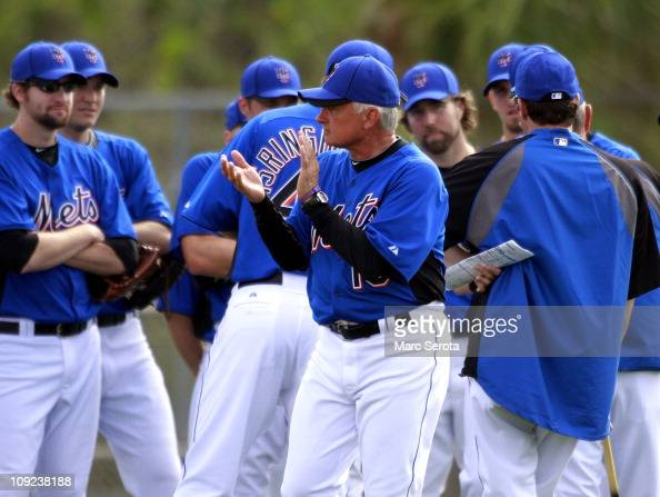 Manager Terry Collins of the New York Mets addresses his team during spring training at Tradition Field on February 17 2011 in Port St Lucie Florida
