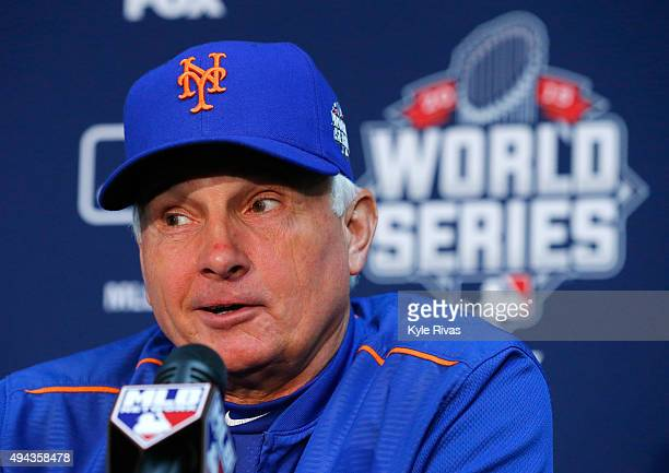 Manager Terry Collins of the New York Mets addresses the media the day before Game 1 of the 2015 World Series between the Kansas City Royals and Mets...