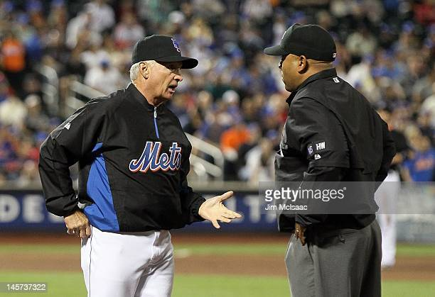 Manager Terry Collins of the New York Mets argues with first base umpire Adrian Johnson during the game against the St Louis Cardinals at Citi Field...