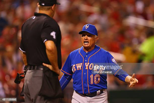 Manager Terry Collins of the New York Mets argues with the home plate umpire after getting ejected against the St Louis Cardinals in the seventh...