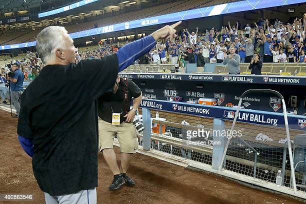 Manager Terry Collins of the New York Mets celebrates after the Mets 32 victory against the Los Angeles Dodgers in game five of the National League...