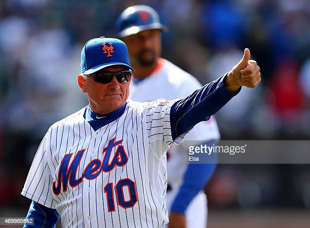 Manager Terry Collins of the New York Mets celebrates the win after Opening Day on April 13 2015 at Citi Field in the Flushing neighborhood of the...