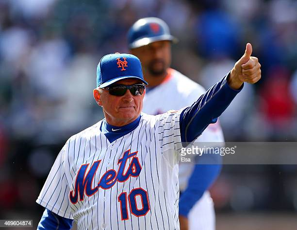 Manager Terry Collins of the New York Mets celebrates the win over the Philadelphia Phillies during Opening Day on April 13 2015 at Citi Field in the...