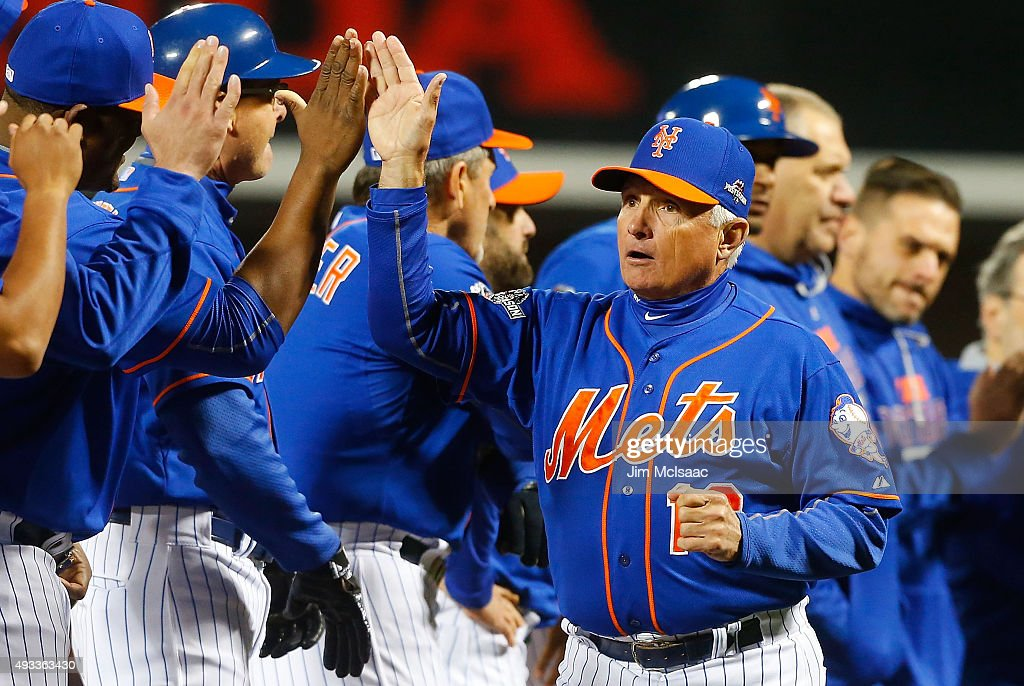 Manager Terry Collins #10 of the New York Mets is introduced before game one of the 2015 MLB National League Championship Series against the Chicago Cubs at Citi Field on October 17, 2015 in the Flushing neighborhood of the Queens borough of New York City. The Mets defeated the Cubs 4-2.
