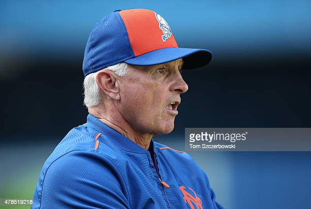 Manager Terry Collins of the New York Mets looks on during batting practice before the start of the MLB game against the Toronto Blue Jays on June 17...