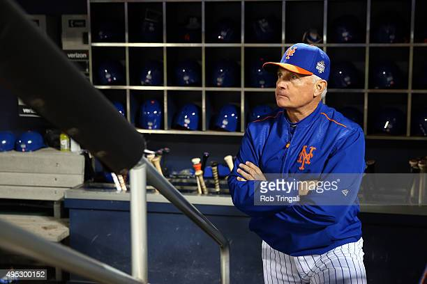 Manager Terry Collins of the New York Mets looks on prior to Game 5 of the 2015 World Series against the Kansas City Royals at Citi Field on Sunday...