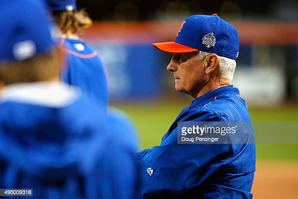 Manager Terry Collins of the New York Mets looks on prior to Game Three of the 2015 World Series at Citi Field between the New York Mets and the...