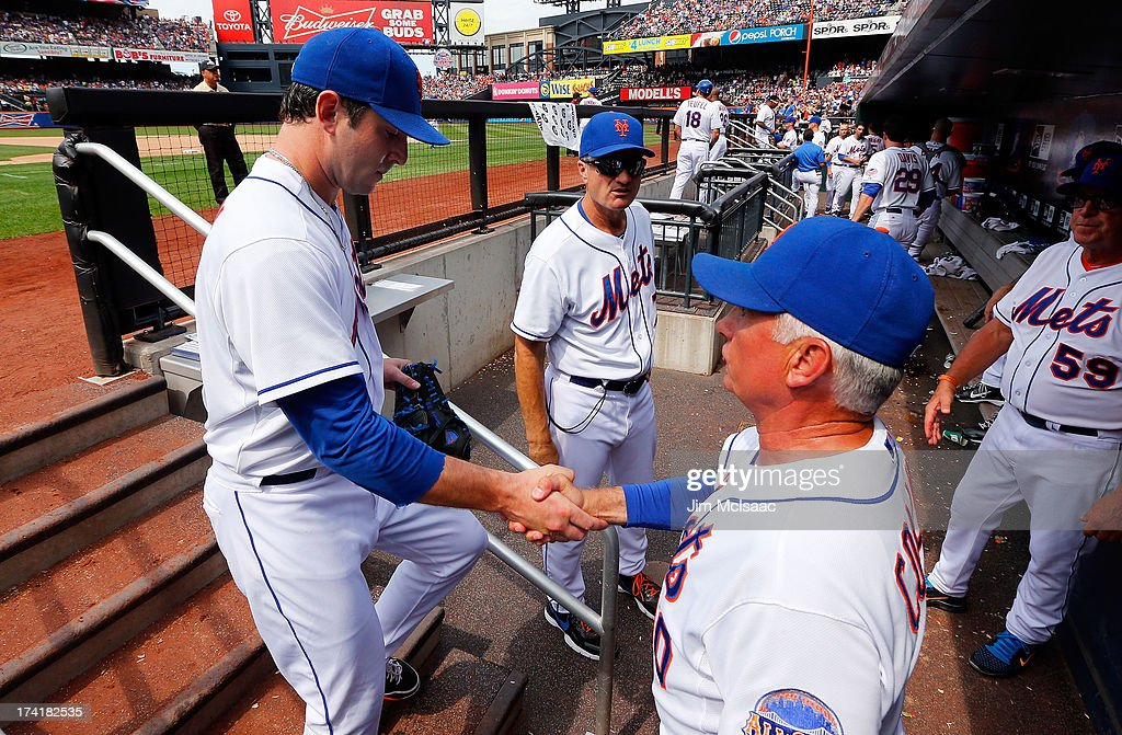 Manager <a gi-track='captionPersonalityLinkClicked' href=/galleries/search?phrase=Terry+Collins&family=editorial&specificpeople=2593404 ng-click='$event.stopPropagation()'>Terry Collins</a> #10 of the New York Mets shakes hands with Matt Harvey #33 after the seventh inning against the Philadelphia Phillies at Citi Field on July 21, 2013 in the Flushing neighborhood of the Queens borough of New York City.