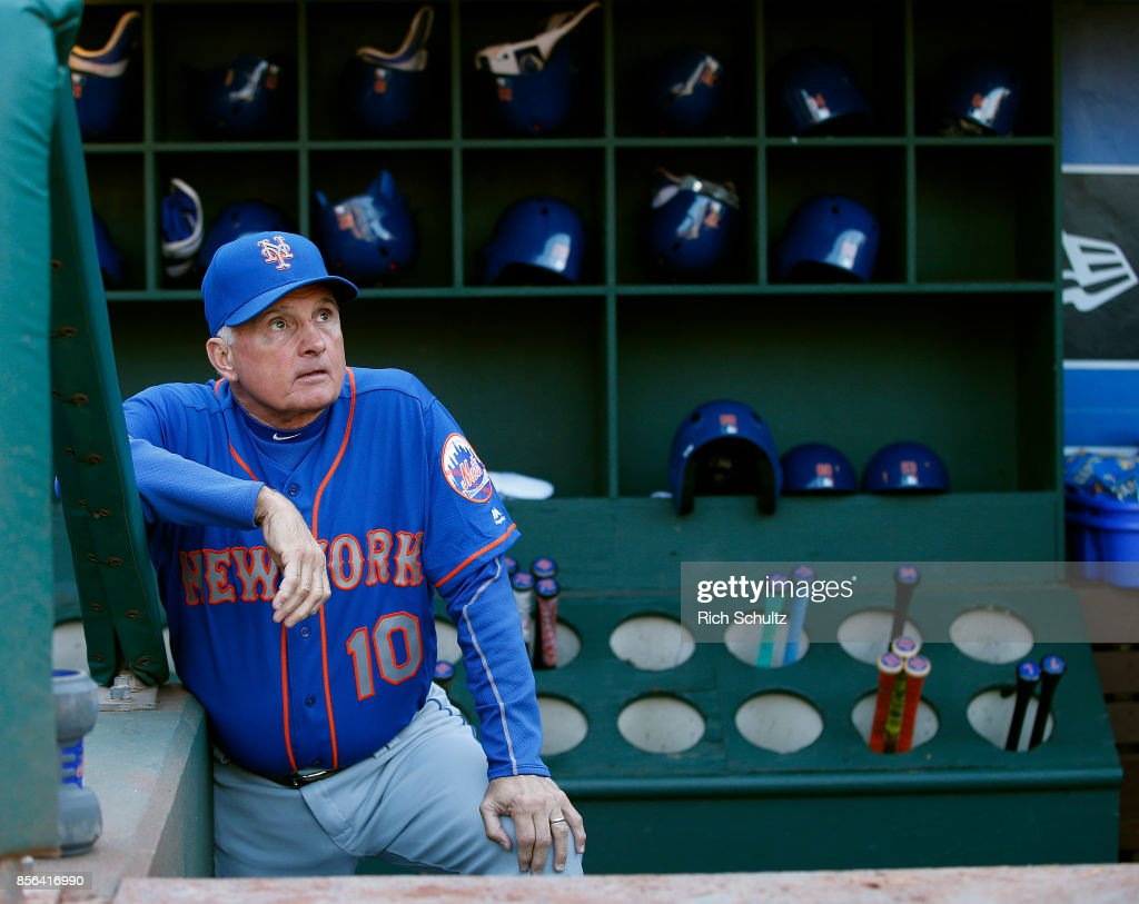 Manager Terry Collins #10 of the New York Mets stands on the bottom step of the dugout before the start of a game against the Philadelphia Phillies at Citizens Bank Park on October 1, 2017 in Philadelphia, Pennsylvania. Collins is likely managing in his last game for the Mets.