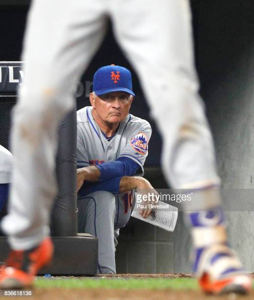 Manager Terry Collins of the New York Mets watches his team batting in an interleague MLB baseball game against the New York Yankees on August 15...