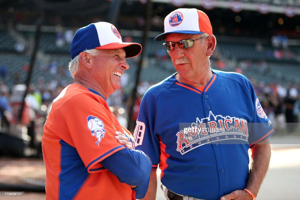 Manager Terry Collins (L) talks with American League All-Star Manager Jim Leyland during Gatorade All-Star Workout Day on July 15, 2013 at Citi Field in the Flushing neighborhood of the Queens borough of New York City.