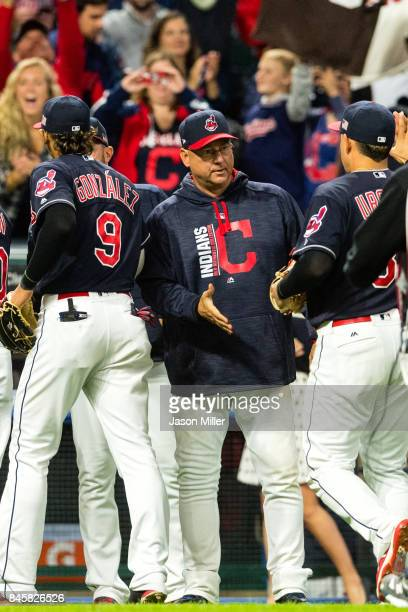 Manager Terry Francona celebrates with Giovanny Urshela of the Cleveland Indians after the Indians defeated the Detroit Tigers at Progressive Field...