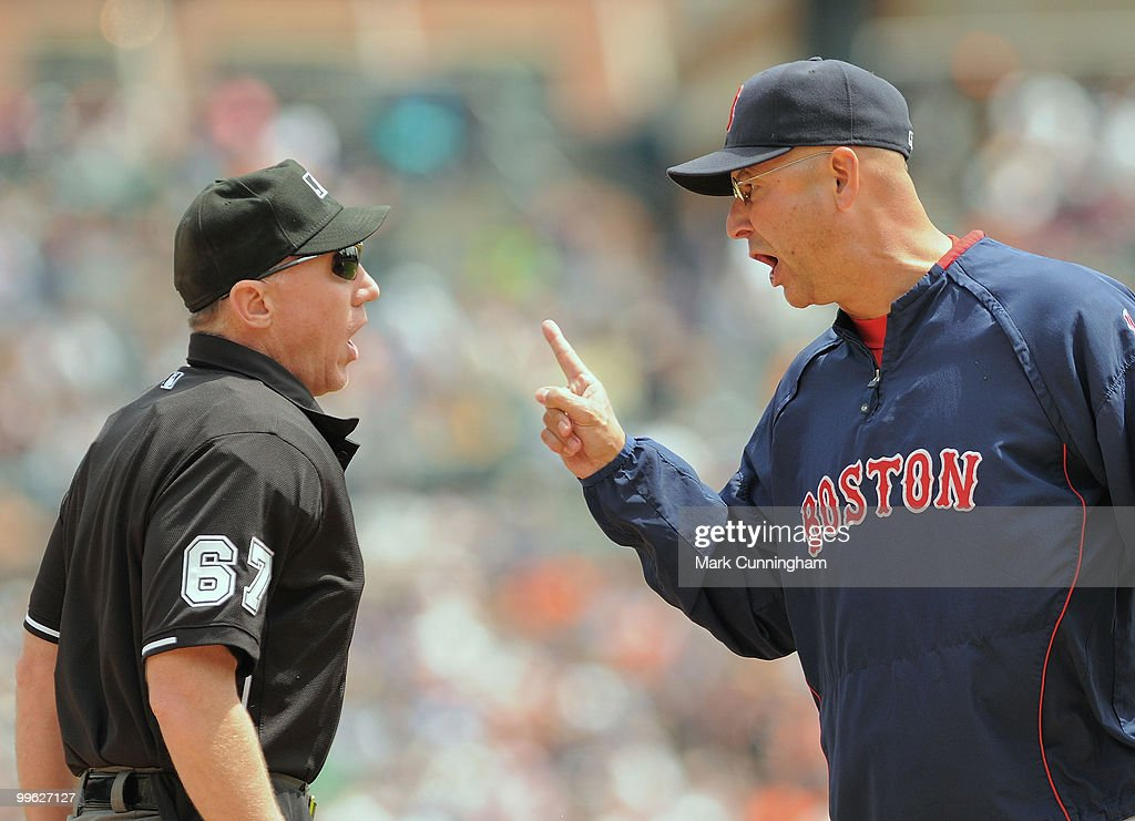 Manager Terry Francona #47 of the Boston Red Sox argues his point with home plate umpire Lance Barksdale during the game against the Detroit Tigers at Comerica Park on May 16, 2010 in Detroit, Michigan. The Tigers defeated the Red Sox 5-1.