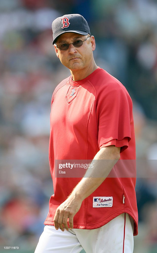 Manager <a gi-track='captionPersonalityLinkClicked' href=/galleries/search?phrase=Terry+Francona&family=editorial&specificpeople=171936 ng-click='$event.stopPropagation()'>Terry Francona</a> #47 of the Boston Red Sox heads back into the dugout in the sixth inning against the Texas Rangers on September 4, 2011 at Fenway Park in Boston, Massachusetts.