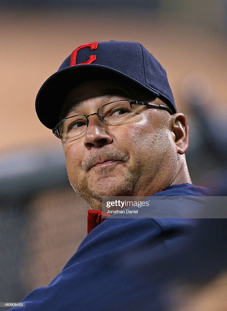 Manager Terry Francona #17 of the Cleveland Indians follows the flight of a foul ball during a game against the Chicago White Sox at U.S. Cellular Field on April 10, 2014 in Chicago, Illinois.