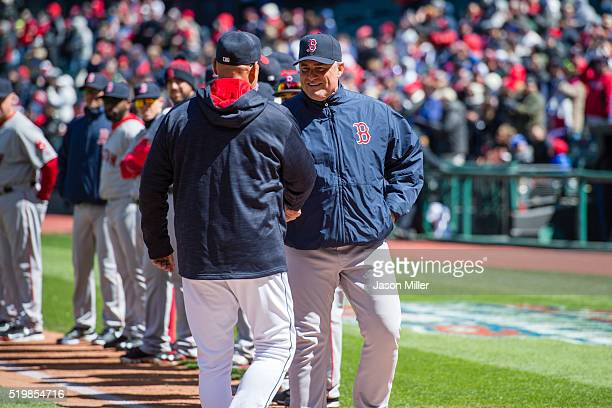 Manager Terry Francona of the Cleveland Indians greets manager John Farrell of the Boston Red Sox prior to the opening day game at Progressive Field...
