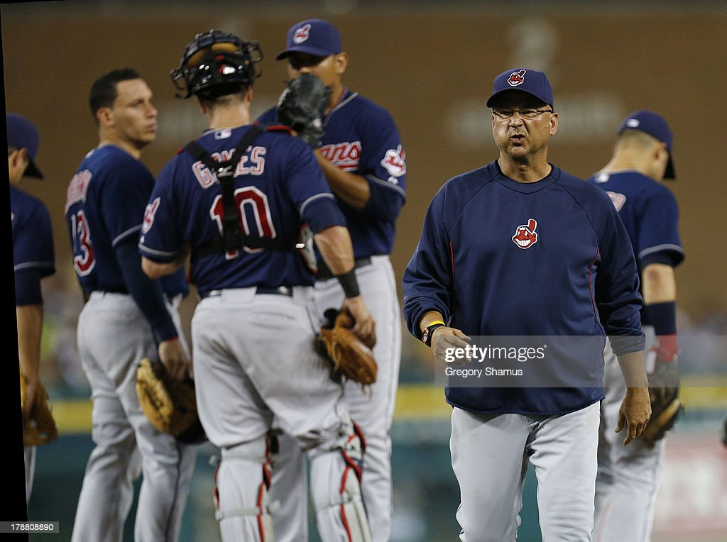 Manager <a gi-track='captionPersonalityLinkClicked' href=/galleries/search?phrase=Terry+Francona&family=editorial&specificpeople=171936 ng-click='$event.stopPropagation()'>Terry Francona</a> of the Cleveland Indians leaves the mound after a pitching change while playing the Detroit Tigers at Comerica Park on August 30, 2013 in Detroit, Michigan.
