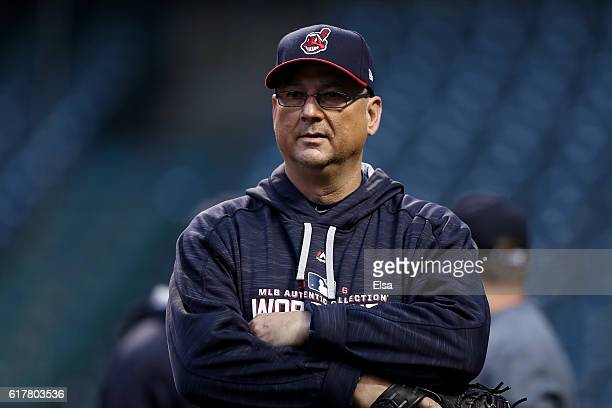Manager Terry Francona of the Cleveland Indians looks on during Media Day workouts for the 2016 World Series at Progressive Field on October 24 2016...