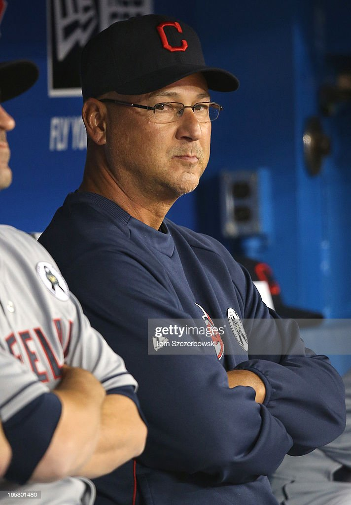 Manager <a gi-track='captionPersonalityLinkClicked' href=/galleries/search?phrase=Terry+Francona&family=editorial&specificpeople=171936 ng-click='$event.stopPropagation()'>Terry Francona</a> #17 of the Cleveland Indians looks on during MLB game action on Opening Day against the Toronto Blue Jays on April 2, 2013 at Rogers Centre in Toronto, Ontario, Canada.