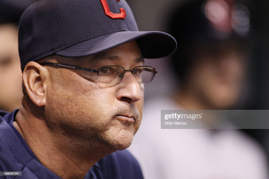 Manager <a gi-track='captionPersonalityLinkClicked' href=/galleries/search?phrase=Terry+Francona&family=editorial&specificpeople=171936 ng-click='$event.stopPropagation()'>Terry Francona</a> #17 of the Cleveland Indians looks on from the dugout during the second inning of a game on May 9, 2014 at Tropicana Field in St. Petersburg, Florida.